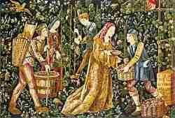 Grape harvest Middle Ages tapestries